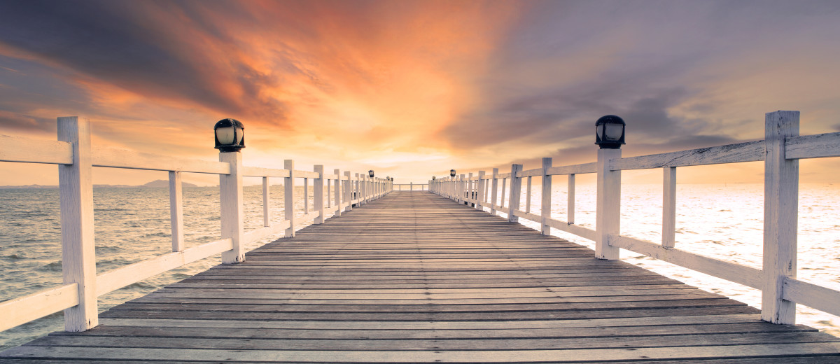 old wood bridg pier with nobody against beautiful dusky sky use for natural background backdrop and multipurpose sea scene